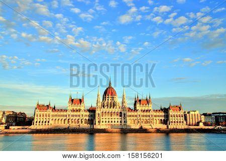 Budapest Parliament at Beautiful Sunset, Hungary, Europe