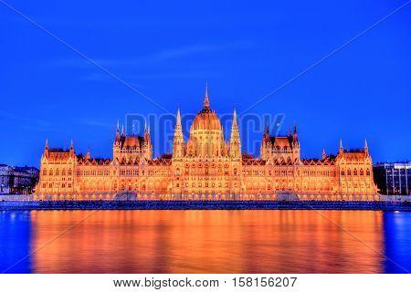 Illuminated Budapest Parliament at Dusk, Hungary, Europe
