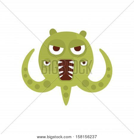 Green Aggressive Malignant Bacteria Monster With Sharp Teeth And Three Tentacles Cartoon Vector Illustration. Colorful Alien Virus Microorganism Unfriendly Character Flat Drawing.