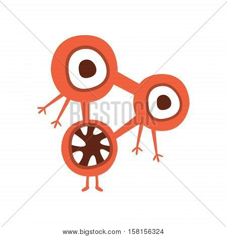 Red Triangle Shape Aggressive Malignant Bacteria Monster With Sharp Teeth Cartoon Vector Illustration. Colorful Alien Virus Microorganism Unfriendly Character Flat Drawing.