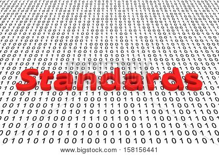 Standards in the form of binary code, 3D illustration