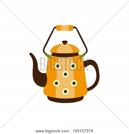 Yellow Spotted Metal Kettle With Handle, Camping And Hiking Outdoor Tourism Related Item Isolated Vector Illustration. Part Of Forest Touristic Adventures Objects Collection In Cute Flat Design.