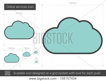 Online services vector line icon isolated on white background. Online services line icon for infographic, website or app. Scalable icon designed on a grid system.