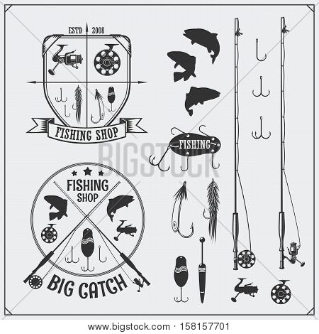 Fishing set. Fishing labels and emblems. Fishing equipment and hooks.