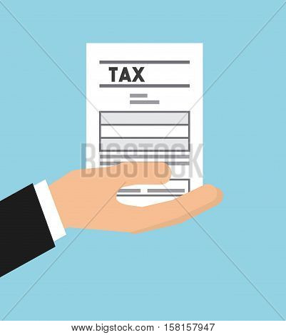 hand holding a tax document over blue background. tax design. vector illustration