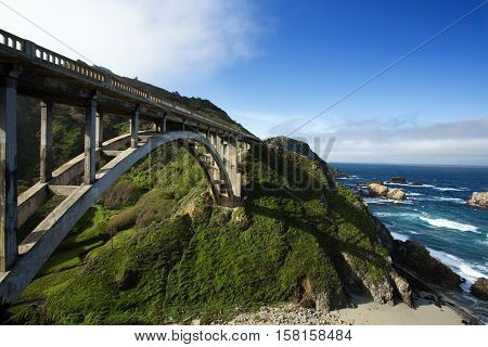 Bixby Bridge at Pacific Coast as part of Road Number 1, California
