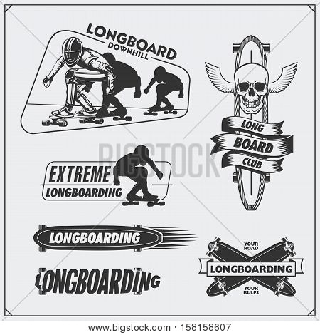 Collection of longboarding and skateboarding labels, emblems, badges and design elements. Silhouette of a longboarders.