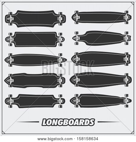 Collection of longboard types. Vector monochrome illustration.