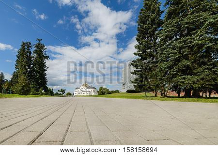 BREST, BELARUS - AUGUST 30, 2016: View of the central temple of the Brest Fortress. Brest Fortress the first to receive the blow during the attack of the German troops on the Soviet Union