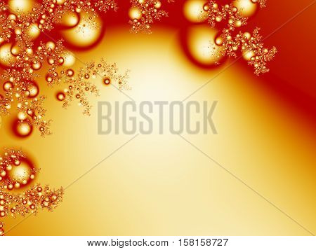 Christmas ornaments and twigs fractal background in gold and red. Suitable for seasonal and Christmas designs books cards pamphlets websites banners or as a desktop or mobile phone background.