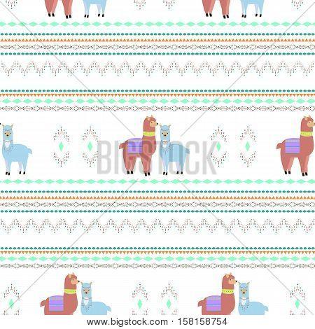 Seamless pattern with llamas.Vector flat for print. Vector cute Alpaca animal