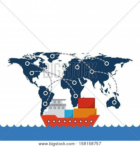 cargo ship with container over world map network background. export and import concept. colorful design. vector illustration