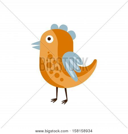 Orange And Blue Singing Bird, Camping And Hiking Outdoor Tourism Related Item Isolated Vector Illustration. Part Of Forest Touristic Adventures Objects Collection In Cute Flat Design.