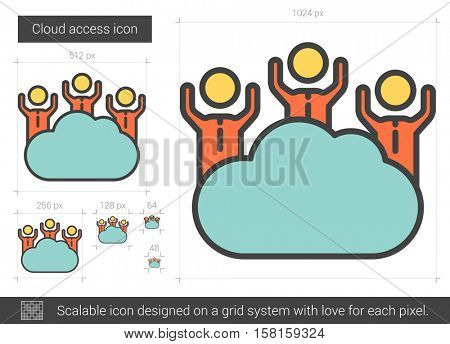Cloud access vector line icon isolated on white background. Cloud access line icon for infographic, website or app. Scalable icon designed on a grid system.