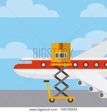 cargo airplane with carton box on the lift cart. export and import concept. colorful design. vector illustration
