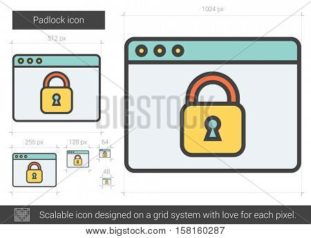 Padlock vector line icon isolated on white background. Padlock line icon for infographic, website or app. Scalable icon designed on a grid system.