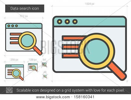Data search vector line icon isolated on white background. Data search line icon for infographic, website or app. Scalable icon designed on a grid system.