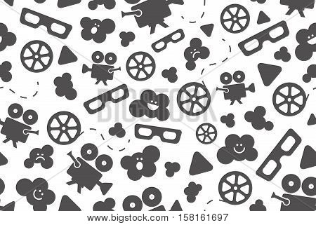 Seamless pattern of flat movie design elements and cinema icons in flat style. Vector illustration. Background.