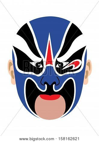 Chinese opera mask in blue on white background