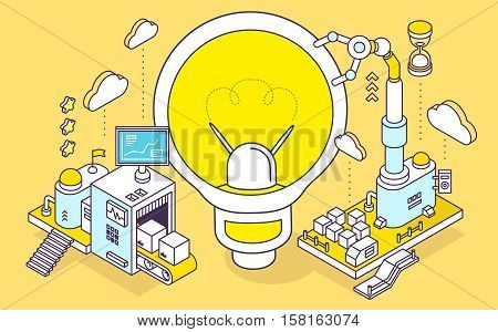 Vector Illustration Of Light Bulb And Three Dimensional Mechanism With Conveyor And Robotic Hand On