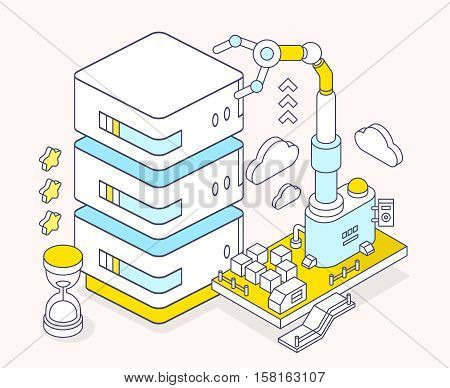 Vector Illustration Of Server, Hourglass And Three Dimensional Mechanism With Robotic Hand On Light