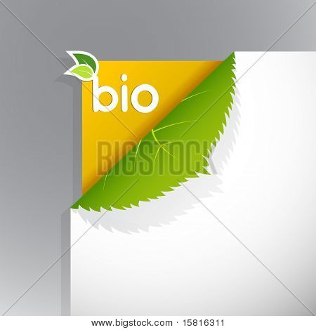 Corner on paper with bio sign.