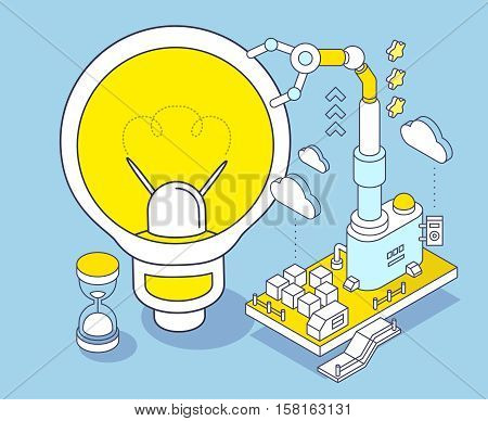 Vector Illustration Of Yellow Light Bulb, Hourglass And Three Dimensional Mechanism With Robotic Han