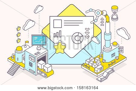 Vector Illustration Of Envelope And Three Dimensional Mechanism With Conveyor And Robotic Hand On Li