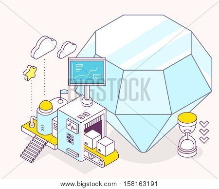 Vector illustration of blue diamond hourglass and three dimensional mechanism with conveyor and monitor on light background. Professional polishing and faceting tools. 3d thin line art style design