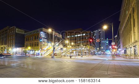 Denver, Usa - November 3, 2016: 16Th Street Mall At Night, Famous Pedestrian And Free Shuttle Bus St