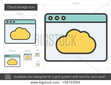 Cloud storage vector line icon isolated on white background. Cloud storage line icon for infographic, website or app. Scalable icon designed on a grid system.