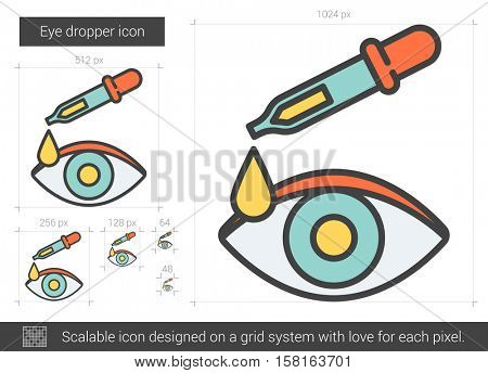 Eye dropper vector line icon isolated on white background. Eye dropper line icon for infographic, website or app. Scalable icon designed on a grid system.