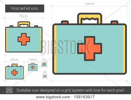 First aid kit vector line icon isolated on white background. First aid kit line icon for infographic, website or app. Scalable icon designed on a grid system.