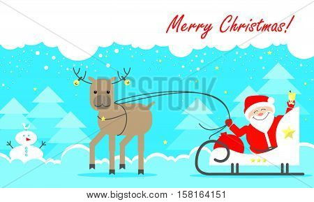 Christmas card. Santa Claus sitting in his sleigh on a background of a winter forest. Vector