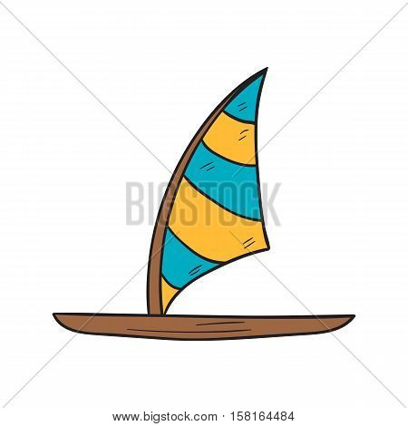 Vector cartoon illustration with isolated hand drawn windsurf board icon. Cartoon windsurfing vector icon. Summer beach exotic tropical sport. Active lifestyle icon. Surfer board