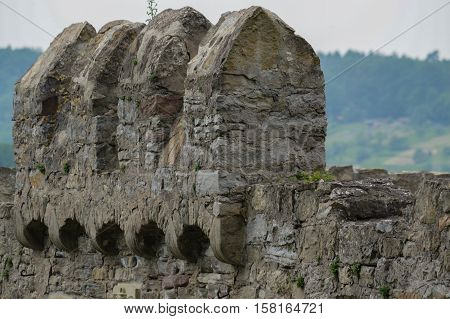 a castle wall battlements of the Ruin Loeffelstelz or D rrmenz in Muelacker Germany on the Enz River