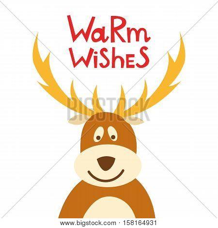 Vector Cartoon Christmas Deer Background