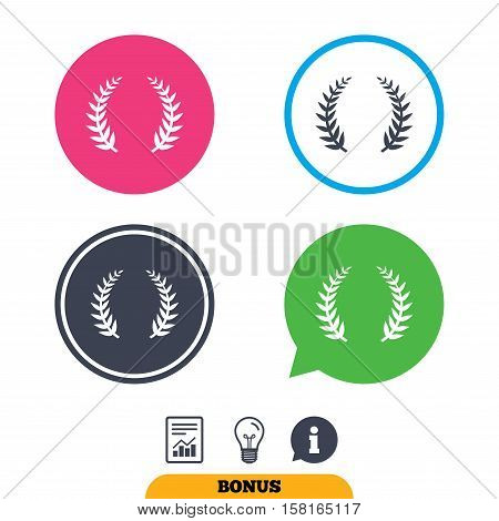 Laurel Wreath sign icon. Triumph symbol. Report document, information sign and light bulb icons. Vector