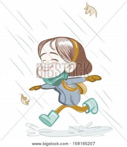 Little Happy Girl Running In The Rain Vector