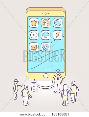 Vector illustration of big phone with apps on screen standing on podium and people looking at it. Phone exhibition and presentation. 3d thin line art style design