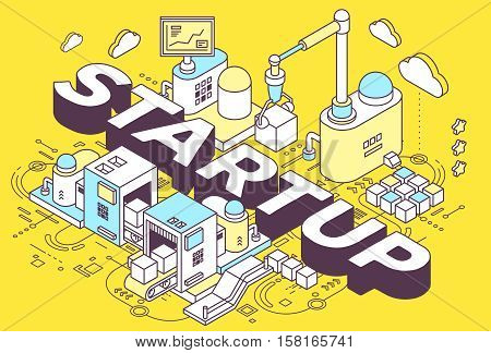 Vector Illustration Of Word Startup And Three Dimensional Mechanism With Conveyor, Robotic Hand On Y