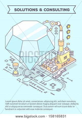 Vector template with illustration of diamond hourglass and three dimensional mechanism with robotic hand and scheme. Professional polishing and faceting tools. 3d thin line art style design of leaflet advertising