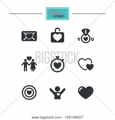 Love, valentine day icons. Target with heart, oath letter and locker symbols. Couple lovers, boyfriend signs. Black flat icons. Classic design. Vector