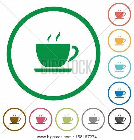 Coffee flat color icons in round outlines