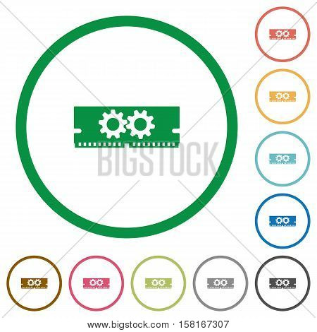 Memory optimization flat color icons in round outlines