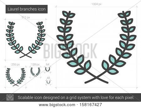 Laurel branches vector line icon isolated on white background. Laurel branches line icon for infographic, website or app. Scalable icon designed on a grid system.