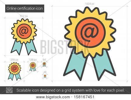 Online certification vector line icon isolated on white background. Online certification line icon for infographic, website or app. Scalable icon designed on a grid system.
