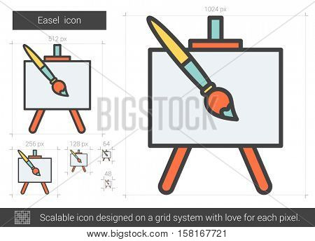 Easel vector line icon isolated on white background. Easel line icon for infographic, website or app. Scalable icon designed on a grid system.