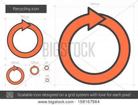 Recycling vector line icon isolated on white background. Recycling line icon for infographic, website or app. Scalable icon designed on a grid system.