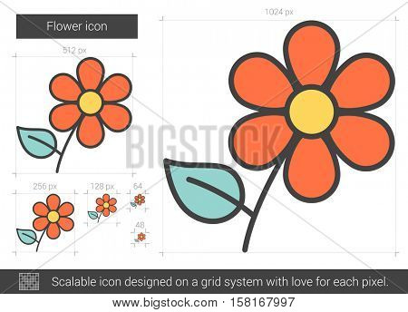 Flower vector line icon isolated on white background. Flower line icon for infographic, website or app. Scalable icon designed on a grid system.